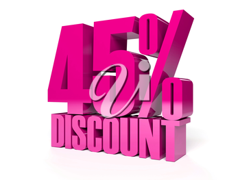 45 percent discount. Pink shiny text. Concept 3D illustration.