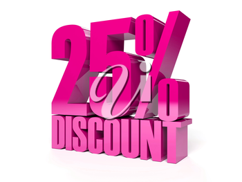 25 percent discount. Pink shiny text. Concept 3D illustration.
