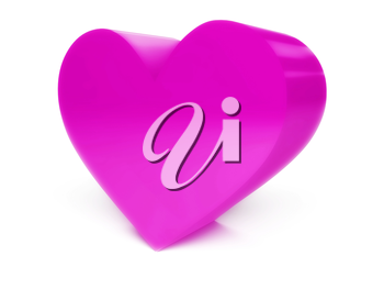 Big pink heart over white background. Concept 3D illustration.
