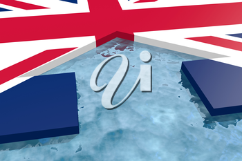 home icon in the water textured by Britainflag. 3D rendering