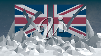 Britain national flag textured vote mark on low poly landscape. 3D rendering