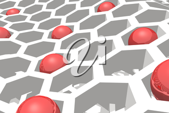 Perspective view on honeycomb with red spheres . 3D rendering backdrop