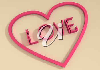 San Valentine card with LOVE word in 3D effect. Diagonal typing. Heart shape outline frame