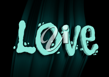 San Valentine card with neon shine LOVE word in 3D effect. Glowing letters. Cafe neon sign