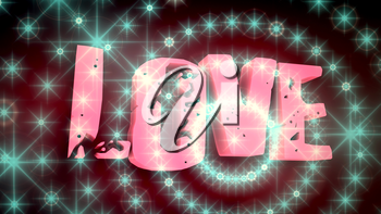 Background relative to valentines day. Love text and dots glowing. 3D rendering