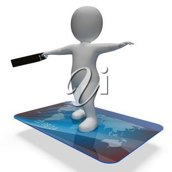 Credit Card Showing Business Person And Shopping 3d Rendering