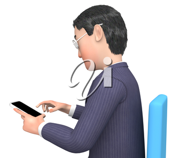Smartphone Calling Showing Business Person And Chatting 3d Rendering