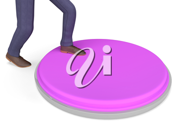 Character Businessman Indicating Panic Button And Press 3d Rendering