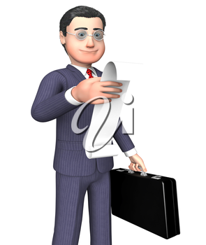 Character Businessman Indicating To Do List And Shopping 3d Rendering