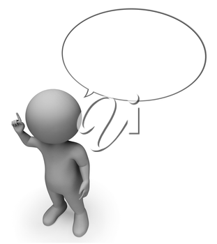 Speech Bubble Representing Copy Space And Talked 3d Rendering