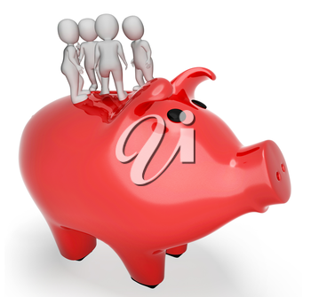 Piggybank Characters Meaning Earnings Moneybox And Currency 3d Rendering