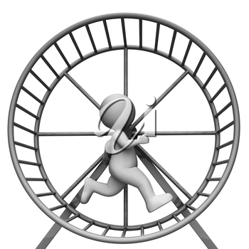 Hamster Wheel Showing Work Out And Character 3d Rendering
