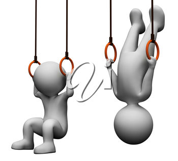 Rings Gymnastics Representing Physical Activity And Workout 3d Rendering
