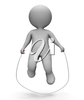Skipping Characters Indicating Jump Rope And Gym 3d Rendering
