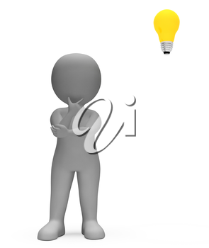 Lightbulb Idea Indicating Think About It And Innovations 3d Rendering
