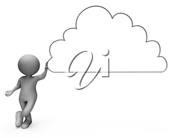 Message Character Representing Copy Space And Cloud-Computing 3d Rendering