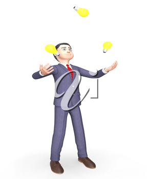 Businessman Idea Representing Light Bulbs And Think 3d Rendering