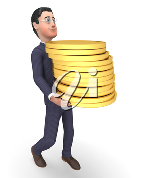 Savings Businessman Indicating Accounting Earn And Bank 3d Rendering