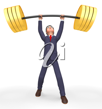Weight Lifting Indicating Get Fit And Business 3d Rendering