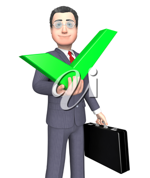 Character Success Meaning Tick Symbol And Approval 3d Rendering
