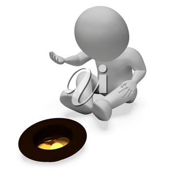Begging Coins Indicating Give Jobless And Vagrant 3d Rendering