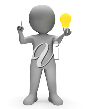 Lightbulb Character Meaning Power Source And Considering 3d Rendering