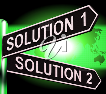 Solution 1 or 2 Choice Shows Strategy Options 3d Illustration