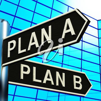 Plan A or B Choice Showing Strategy Change 3d Illustration