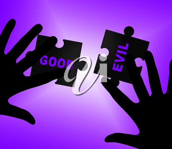 Good Vs Evil Words Shows Difference Between Moral Honesty And Hate. Crossroads Of Hope Belief Or Hell - 3d Illustration