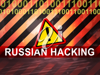 Election Hacking Russian Espionage Attacks 2d Illustration Shows Hacked Elections Or Ballot Vote Risk From Russia Online Like US Dnc Server Breach