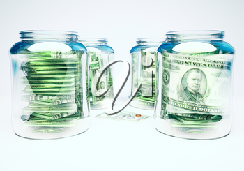 Glass flasks with money and three banknotes with coins - wealth and poverty concept.