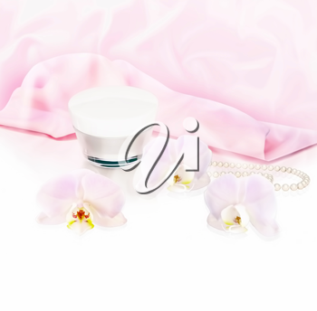 White orchid flowers, string of pearls and jar of moisturizing face cream for spa treatment. 3D illustration