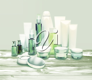 Daily, beauty care cosmetic. Face cream, eye cream, serum and lip balm located on a wooden table. Skin care.