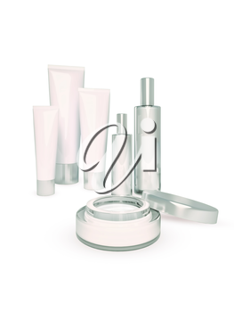 Cosmetics set on white background.