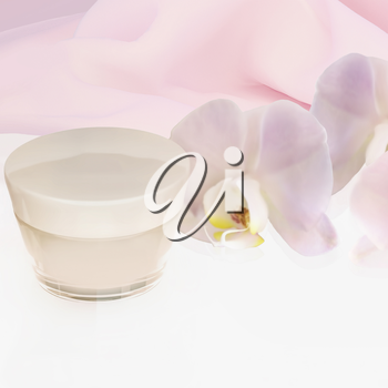 face cream with Orchid flower isolated on white