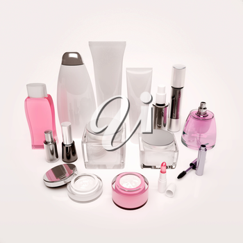 Products of care of skin, hair, decorative cosmetics on the white.