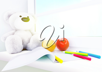 Teddy bear, apples, album and colored pencils on the windowsill.