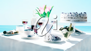 Afternoon tea and delicious dessert on sea background.