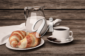 Delicious coffee with croissants, cream and chocolate on a wooden table.