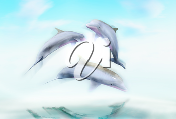 Dolphins against a background of the ocean waves.