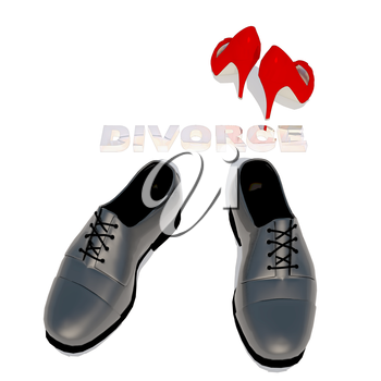 Women's shoes and men's shoe, symbol photo for separation, divorce and conflict.