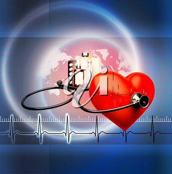 Medical background. Red heart and a stethoscope on a blue background.