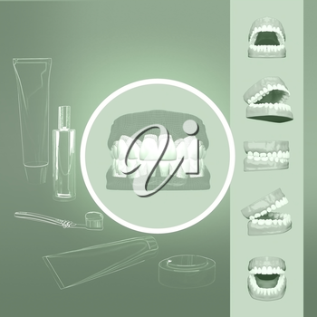 3D teeth or tooth illustration, perspective views in mouth.