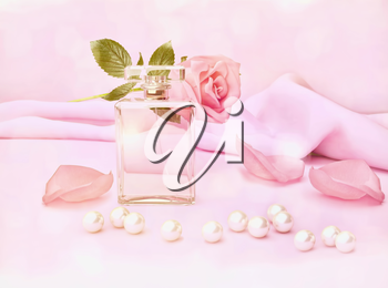 Perfume bottle and flower rose, petals and pearls on pink silk. 3D rendering