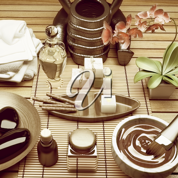 Composition of spa treatment on table colorful background.