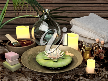 Composition of spa treatment, candles, lotus in bowl with water.