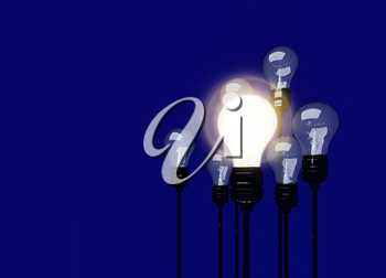 A light bulb that stable and glowing among the others. 3D illustration