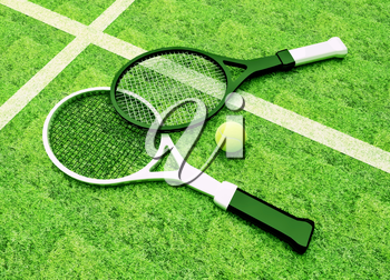 Tennis; rackets; court; grass; game; green.