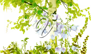 Blue bell flowers background.