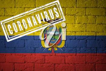 Flag of the Ecuador on brick wall texture. stamped of Coronavirus. Corona virus concept. On the verge of a COVID-19 or 2019-nCoV Pandemic. Novel Chinese Coronavirus outbreak